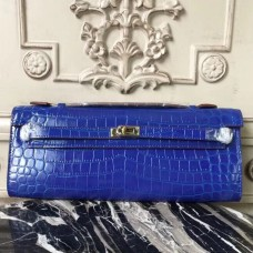 Hermes Blue Electric Crocodile Kelly Cut Clutch Bag