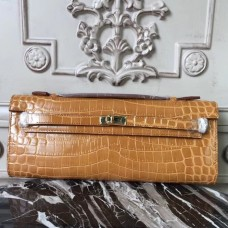 Hermes Camarel Crocodile Kelly Cut Clutch Bag