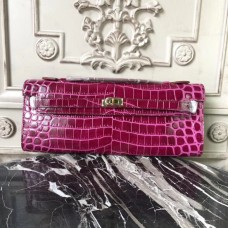 Hermes Fuchsia Crocodile Kelly Cut Clutch Bag