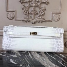 Hermes Himalaya Crocodile Kelly Cut Clutch Bag