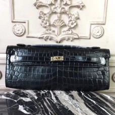 Hermes Black Crocodile Kelly Cut Clutch Bag