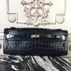 Hermes Black Crocodile Kelly Cut Clutch Bag