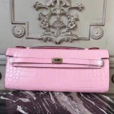 Hermes Pink Crocodile Kelly Cut Clutch Bag