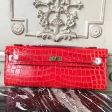 Hermes Cherry Crocodile Kelly Cut Clutch Bag