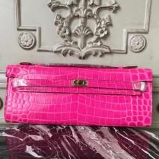 Hermes Rose Red Crocodile Kelly Cut Clutch Bag
