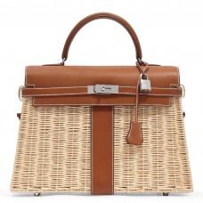 Hermes Brown Picnic Kelly 35cm Wicker Bag