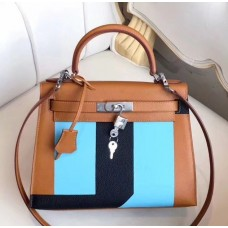 Hermes Multicolor Stripes Kelly 28cm Brown Bag