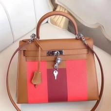 Hermes Multicolor Stripes Kelly 28cm Gold Bag