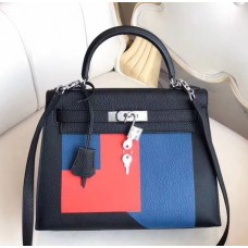 Hermes Multicolor Blocks Kelly 28cm Black Bag