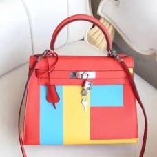 Hermes Multicolor Blocks Kelly 28cm Piment Bag