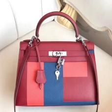 Hermes Multicolor Blocks Kelly 28cm Ruby Bag