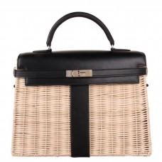 Hermes Black Picnic Kelly 35cm Wicker Bag