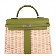 Hermes Green Picnic Kelly 35cm Wicker Bag