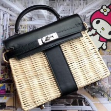 Hermes Black Picnic Kelly Mini 20cm Wicker Bag