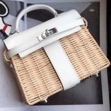 Hermes White Picnic Kelly Mini 20cm Wicker Bag