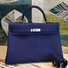 Hermes Blue Clemence Kelly 35cm Handmade Bag
