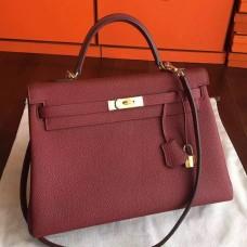Hermes Bordeaux Clemence Kelly 35cm Handmade Bag