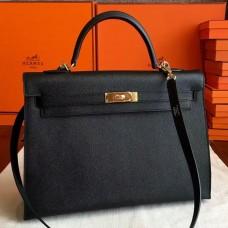 Hermes Black Epsom Kelly 35cm Handmade Bag