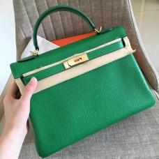 Hermes Bamboo Clemence Kelly Retourne 32cm Handmade Bag
