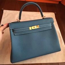 Hermes Blue Jean Clemence Kelly Retourne 32cm Handmade Bag