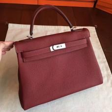 Hermes Bordeaux Clemence Kelly Retourne 32cm Handmade Bag