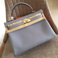 Hermes Blue Lin Clemence Kelly Retourne 32cm Handmade Bag