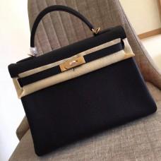 Hermes Black Clemence Kelly Retourne 32cm Handmade Bag