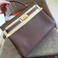 Hermes Etoupe Clemence Kelly Retourne 28cm Handmade Bag