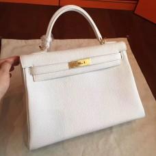 Hermes White Clemence Kelly Retourne 32cm Handmade Bag