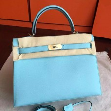 Hermes Blue Atoll Epsom Kelly 32cm Sellier Handmade Bag