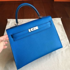 Hermes Blue Epsom Kelly 32cm Sellier Handmade Bag