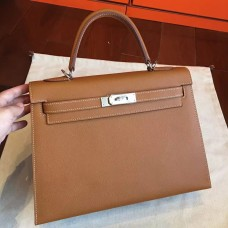Hermes Brown Epsom Kelly 32cm Sellier Handmade Bag