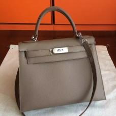 Hermes Etoupe Epsom Kelly 32cm Sellier Handmade Bag