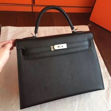 Hermes Black Epsom Kelly 32cm Sellier Handmade Bag