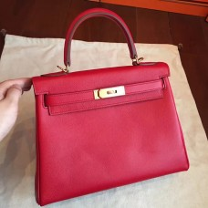 Hermes Red Epsom Kelly 32cm Sellier Handmade Bag