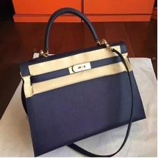 Hermes Sapphire Epsom Kelly 32cm Sellier Handmade Bag