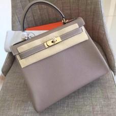Hermes Grey Clemence Kelly Retourne 28cm Handmade Bag