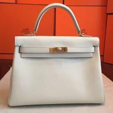 Hermes Ivory Swift Kelly Retourne 32cm Handmade Bag