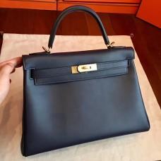 Hermes Black Swift Kelly Retourne 32cm Handmade Bag