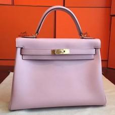 Hermes Rose Dragee Swift Kelly Retourne 32cm Handmade Bag