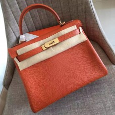 Hermes Orange Clemence Kelly Retourne 28cm Handmade Bag