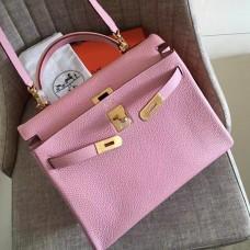 Hermes Pink Clemence Kelly Retourne 28cm Handmade Bag