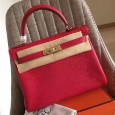 Hermes Red Clemence Kelly Retourne 28cm Handmade Bag