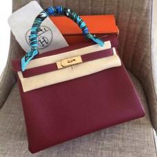 Hermes Ruby Clemence Kelly Retourne 28cm Handmade Bag