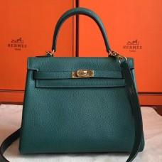 Hermes Malachite Clemence Kelly 25cm Retourne Handmade Bag