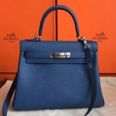 Hermes Blue Agate Clemence Kelly Retourne 28cm Handmade Bag