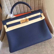 Hermes Sapphire Clemence Kelly Retourne 28cm Handmade Bag