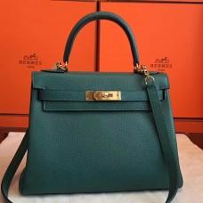 Hermes Malachite Clemence Kelly Retourne 28cm Handmade Bag