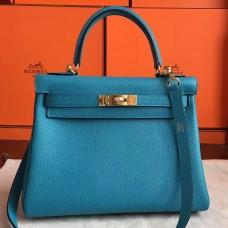Hermes Turquoise Clemence Kelly Retourne 28cm Handmade Bag