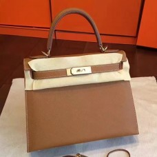 Hermes Brown Epsom Kelly Sellier 28cm Handmade Bag